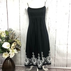 LOFT SLEEVELESS MIDI EMBROIDERY DRESS SIZE 6